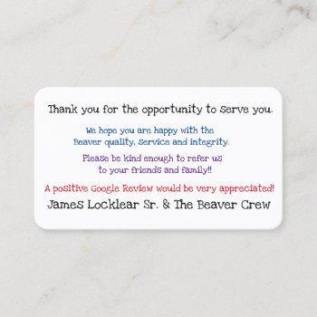 get google reviews business card