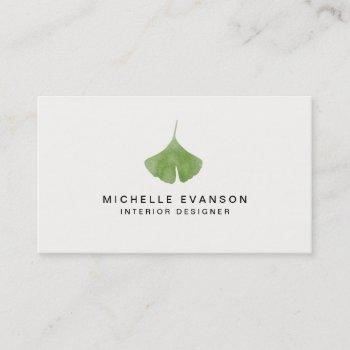 ginkgo leaf simple nature minimalist business card
