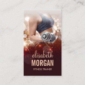 girl fitness trainer dumbbell gold glitter sparkle business card