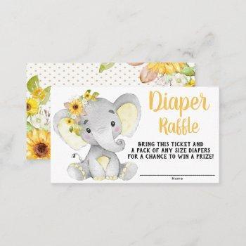 girl sunflower elephant diaper raffle tickets