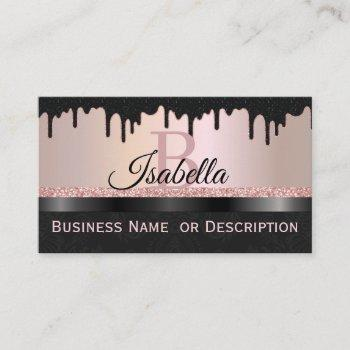 girly black crystals, rose gold glitter sparkle an business card