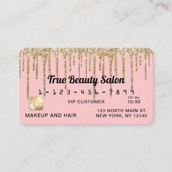 girly blush pink gold glitter drips credit business card