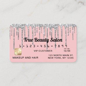 girly blush pink silver glitter drips credit business card
