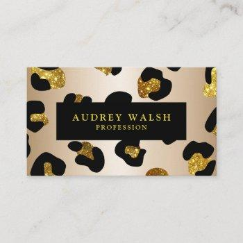girly glittery faux gold leopard print  luxury business card