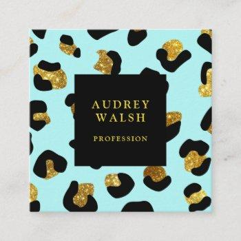 girly glittery gold aqua leopard print  luxury square business card