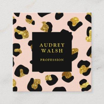 girly glittery gold blush leopard print  luxury square business card