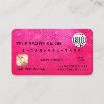girly neon pink sequin glitter credit card logo