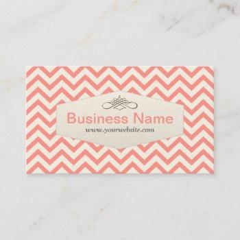 girly pink chevron baby sitter business card