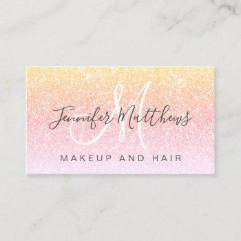 girly rainbow glitter makeup artist hair salon business card