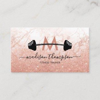 girly rose gold personal trainer business card