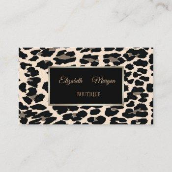 girly trendy modern  elegant,leopard print, frame business card