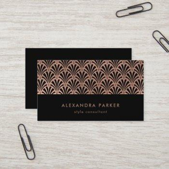 glam art deco pattern | faux rose gold on black business card