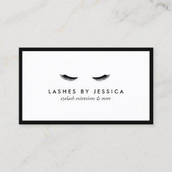 glam eyelashes classic black and white business card