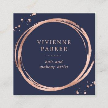 glam faux rose gold look on midnight blue square business card