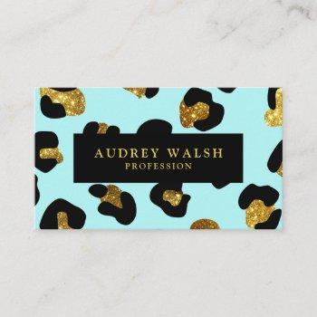 glam glitter gold aqua leopard print  luxury business card