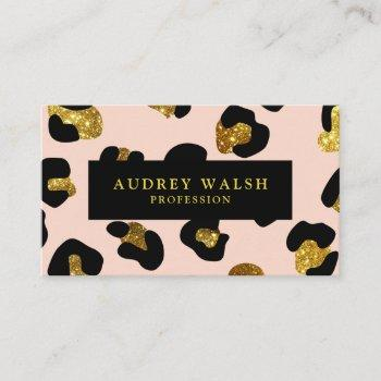 glam glitter gold blush leopard print  luxury business card