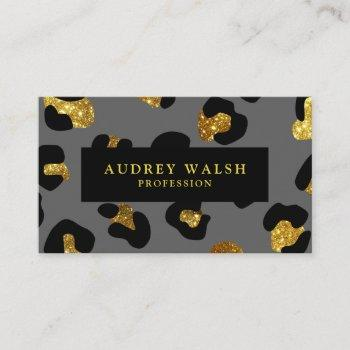 glam glitter gold gray leopard print  luxury business card