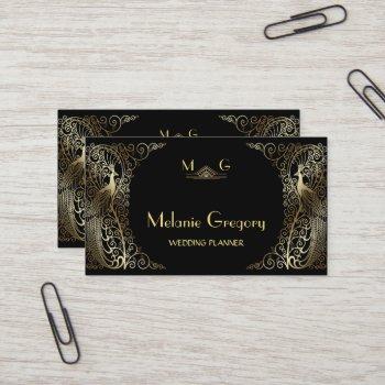 glam gold art deco peacocks professional monogram business card
