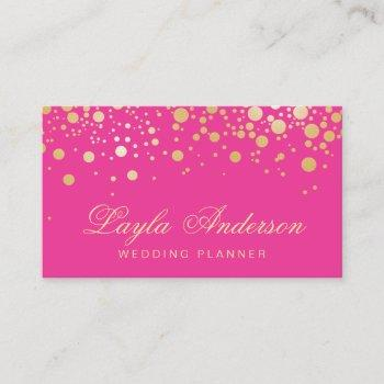 glam gold dots decor - trendy girly hot pink business card
