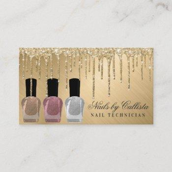 glam gold metallic glitter drips nail polish business card