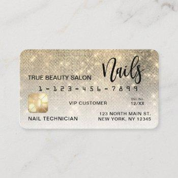 glam gold sequin glitter credit card nail tech