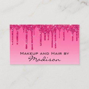 glam hot pink dripping glitter drips makeup artist business card