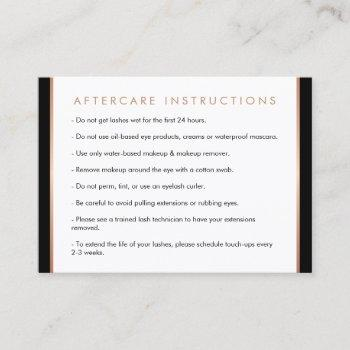 glam lashes script rose gold/black aftercare card