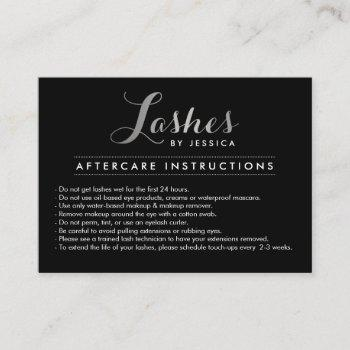glam lashes script silver/black aftercare card