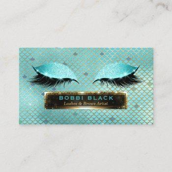 glam makeup artist eyelash extensions teal gold business card