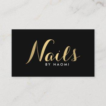 glam nails script text gold/black business card