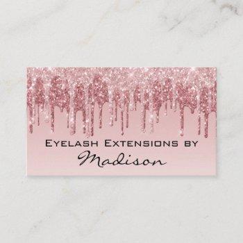 glam pink rose gold glitter drips makeup eyelash business card