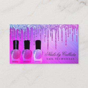 glam purple metallic glitter drips nail polish business card
