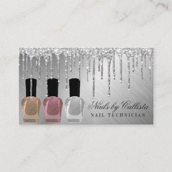 glam silver metallic glitter drips nail polish business card