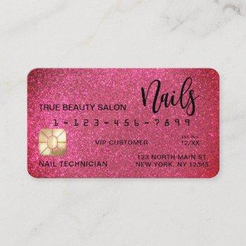 glam sparkly pink glitter credit card nail tech