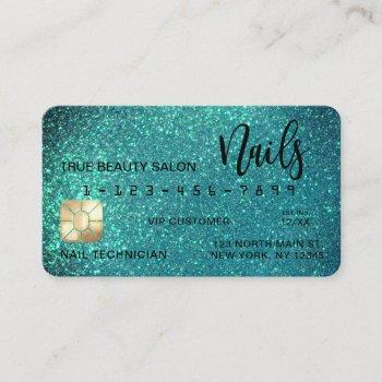 glam sparkly teal glitter credit card nail tech