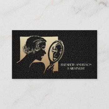 glamorous beautician black and gold leopard business card