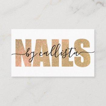 glamorous chic gold glitter typography nail artist business card