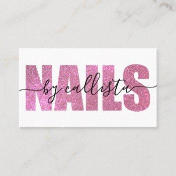glamorous chic pink glitter typography nail artist business card