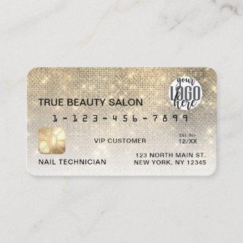 glamorous gold sequin glitter credit card logo