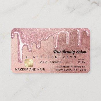 glamorous rose gold thick glitter drips credit business card