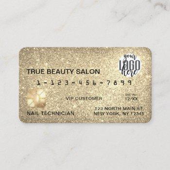 glamorous sparkly gold glitter credit card logo