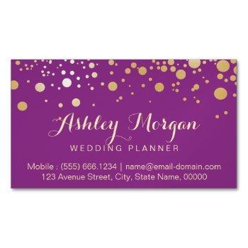 glamour gold dots decor - stylish violet purple business card magnet