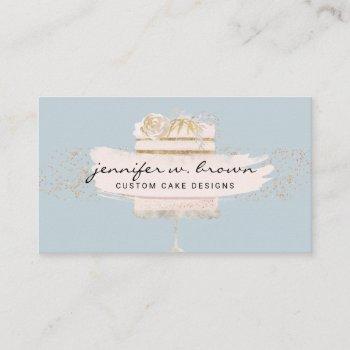 glitter cake floral blush blue business card