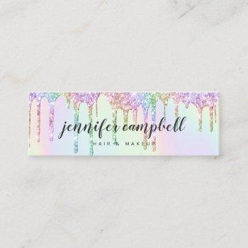 glitter drips glam makeup hair holographic unicorn mini business card
