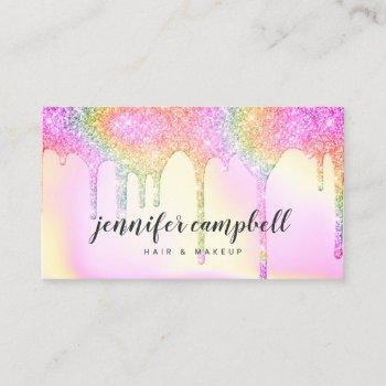 glitter drips pink rainbow holographic makeup hair business card
