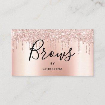 glitter drips rose gold metallic elegant brows business card