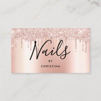 glitter drips rose gold metallic elegant nails business card