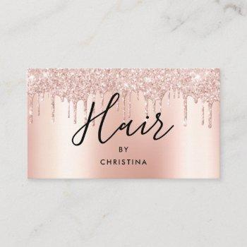 glitter drips rose gold metallic hair stylist business card
