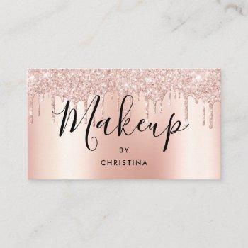 glitter drips rose gold metallic makeup artist business card