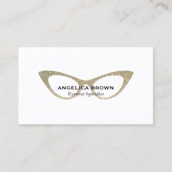 glitter eye glasses business card
